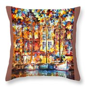 The Three Friends - Palette Knife Oil Painting On Canvas By Leonid Afremov Throw Pillow