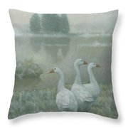 The Three Geese Throw Pillow