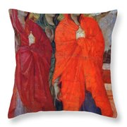 The Three Marys At The Tomb Fragment 1311 Throw Pillow