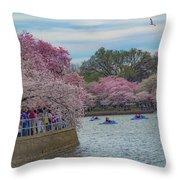 The Tidal Basin During The Washington D.c. Cherry Blossom Festival Throw Pillow