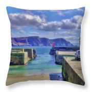 The Tide Is Out In The Harbour Throw Pillow