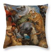 The Tiger Hunt Throw Pillow