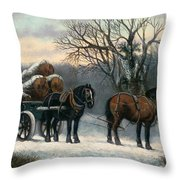 The Timber Wagon In Winter Throw Pillow by Anonymous