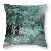 The Time Goes By. Nature In Alien Skin Throw Pillow