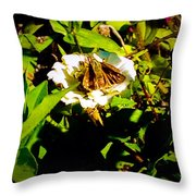 The Tiniest Skipper Butterfly In The Garden Throw Pillow