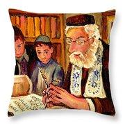 The Torah Scribe Throw Pillow