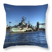 The Tower Hms Belfast And Tower Bridge Throw Pillow