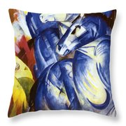 The Tower Of Blue Horses 1913 Throw Pillow