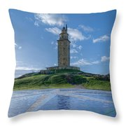 The Tower Of Hercules And The Rose Of The Winds Throw Pillow