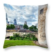The Tower Of London And The City District With Gherkin Skyscraper, The Uk Throw Pillow