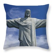 The Towering Statue Of Christ Throw Pillow