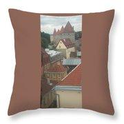 The Towers Of Old Tallinn Estonia Throw Pillow