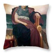The Tragic Poetess Throw Pillow by Frederic Leighton