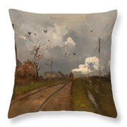 The Train Is Arriving Throw Pillow