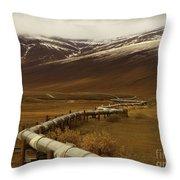 The Trans Alaska Pipeline Throw Pillow