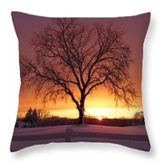 The Tree At Sunset Throw Pillow