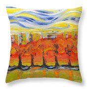 The Trees In Red. Day_march, 28  2015, Nizhny Novgorod, Russia Throw Pillow