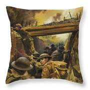 The Trenches Throw Pillow by Andrew Howat