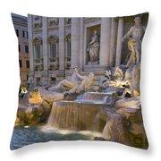 The Trevi Fountain At Dusk Throw Pillow
