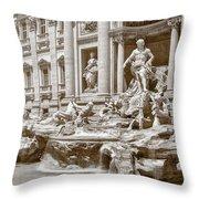 The Trevi Fountain In Sepia Tones Throw Pillow