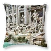 The Trevi Fountain In The City Of Rome Throw Pillow