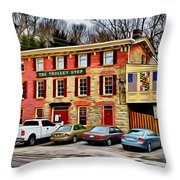 The Trolley Stop Throw Pillow by Stephen Younts