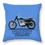 The Trophy Tr6 Sc Motorcycle Throw Pillow