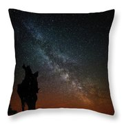 The Trunk Of A Dead Tree, Milky Way And Meteor Throw Pillow