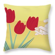 The Tulips Throw Pillow