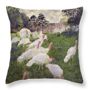The Turkeys At The Chateau De Rottembourg Throw Pillow by Claude Monet