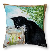 The Tuxedo Cat And The Fish Bowl Throw Pillow