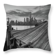 The Twisted Pier Panorama Bw Throw Pillow