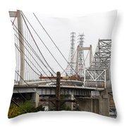 The Two Carquinez Bridges At Crockett And Vallejo California . Aka Alfred Zampa Memorial Bridge . 7d8919 Throw Pillow