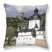 The Two Castles Of Kaub Germany Throw Pillow