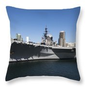 The U S S Midway Docked In San Diego Throw Pillow