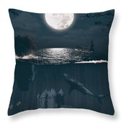 The Underwater Castle Throw Pillow
