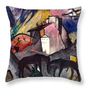 The Unfortunate Land Of Tyrol Franz Marc Painting Of Horses In A Valley Near A Cemetery  Throw Pillow