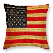 The United States Declaration Of Independence - American Flag - Square Throw Pillow