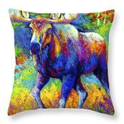 The Urge To Merge - Bull Moose Throw Pillow