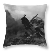 The Uss Arizona Bb-39 Burning After The Japanese Attack On Pearl Harbor Throw Pillow