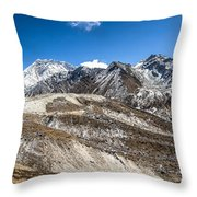 The Valley Leading To Mt Everest In Nepal Throw Pillow