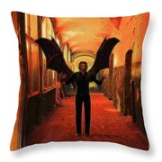 The Vampire Beckons Throw Pillow