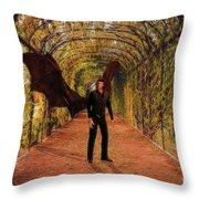 The Vampire In The Garden Throw Pillow