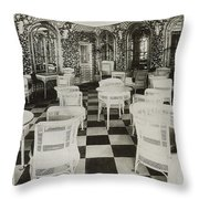 The Verandah Cafe Of The Titanic Throw Pillow by Photo Researchers