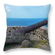 The View From Fort Rodney On Pigeon Island Gros Islet Saint Lucia Cannon Throw Pillow