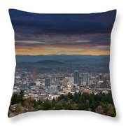 The View From Pittock Mansion Viewpoint Throw Pillow