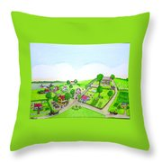 The Village - Colonial Style Art Throw Pillow