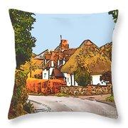 The Village Of Chilbolton Throw Pillow