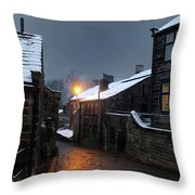 The Village Of Heptonstall In The Snow At Night With Lamps Shini Throw Pillow