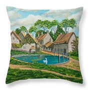 The Village Pond In Wroxton Throw Pillow